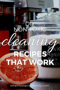 Rather than buying toxic products off the shelf you can make your own non toxic cleaning recipes from inexpensive ingredients that you have in your kitchen. My favorite DIY book will show you how to make cleaning products that actually work!  #greenliving #greencleaning #ecofriendly #sustainability #gogreen #naturalliving #climatechange #nontoxic #greenparenting