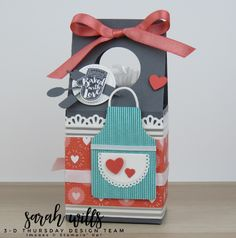 My 3D Thursday project - a Mini Carton Treat Box and inside is a cello bag of homemade cookies! FREE Project Sheet, Supply List and info on my blog! Sarah Wills Sarah's Ink Spot #sarahwills #sarahsinkspot #stampinup #papercraft #handmade #giftbox #milkcarton #carton #homemade #apronoflove #apronbuilder #bakedgoodspackaging
