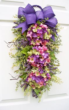 "Hydrangea Wreath Swag, ""Spring Has Sprung"", Spring right through Summer, for Your Front Door, Timeless Floral Creations"