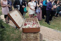 Red, Navy, White Wedding. Red Colour palette, Modern Wedding, Confetti suitcase. www.lunafay.co.za