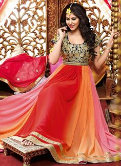 Multi Colour Georgette Fabric Unstitched Party Wear Anarkali Suit Comes With Matching Chiffon Dupatta Fabric and Shantoon Bottom Fabric. This Suit Comes As a Unstitched Which Can Be Stitched Up To Siz. Anarkali Frock, Long Anarkali, Anarkali Suits, Churidar Suits, Patiala, Abaya Fashion, Indian Fashion, Ethnic Fashion, Women's Fashion