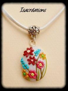 pendentif champ de fleurs  : Collier par isacreations sur ALittleMarket