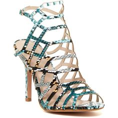 Bella Marie Lyric Caged Heel Sandal ($25) ❤ liked on Polyvore featuring shoes, sandals, blue multi, vegan sandals, caged heel sandals, high heel shoes, caged high heel sandals and open toe shoes