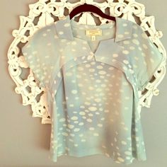 """Anthropologie Silk """"Sky"""" Top Size 0 Perfect condition as it is NWOT.  this is a beautiful silk top with a sky print.  Back has stunning pleat detail too.  Size 0, fits true to size but not fitted. Anthropologie Tops Blouses"""