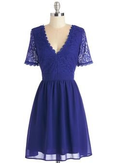 Craft Cocktails Dress in Cobalt. Your intricate blends of liqueurs are as renowned as your style - like tonights cobalt lace dress! #gold #prom #modcloth