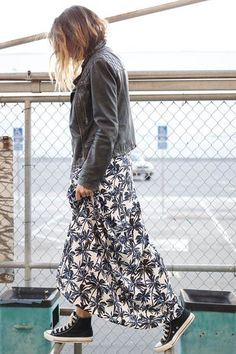 flowered maxi skirt, black leather jacket and converse