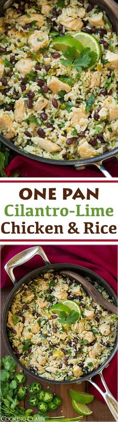 One Pan Cilantro Lime Chicken and Rice with Black Beans - This is so easy to make and so delicious! It can be ready in 25 minutes! Like a burrito bowl so you can definitely load it up with toppings if you want.