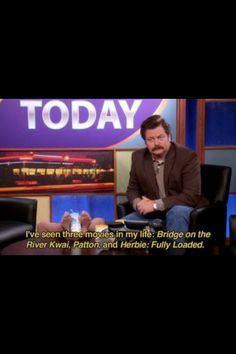 Ron Swanson on Pawnee Today (Parks and Recreations) Parks And Rec Quotes, Tv Show Quotes, Funny Pix, Hilarious, Parcs And Rec, Beautiful Tropical Fish, Parks Department, Literature Quotes, Ron Swanson