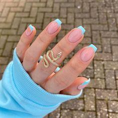 French Tip Acrylic Nails, Short Square Acrylic Nails, Blue Acrylic Nails, Acrylic Nails Coffin Short, Simple Acrylic Nails, Acrylic Nails Designs Short, Blue French Manicure, Short Nail Designs, Cute Nail Designs