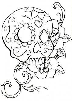 printable Coloring Pages of Skulls and Roses | candy skull tattoo ...