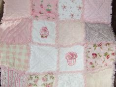Personalized Custom Cup Cake Rag Quilt Sampler Shabby Chic