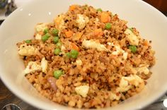 """For dinner, my homemade organic tricolor quinoa and brown rice """"fried rice"""" with egg white and fresh peas/carrots. Family loved it!"""