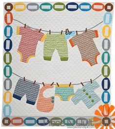 """Baby Clothes on the Line"" quilt by Natalia at Piece n' Quilt."