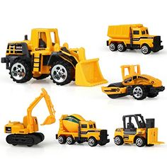 Coolplay Inertia Toy Early Engineering Vehicles Friction Powered Kids Dumper,Bulldozers,Forklift,Tank Truck,Asphalt Car and Excavator 6 Set Toy for Children Kids Boys and Girls