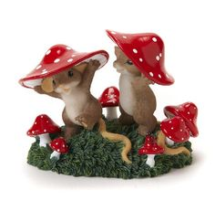 """""""Mushrooms For Everyone"""" by artist Dean Griff / Charming Tales Mouse Figurine"""