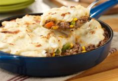 This skillet shepherd's pie gets its sensational flavor from the sweet onion soup- it adds fantastic taste to the beef and vegetables. It is finished under the broiler resulting in a perfectly browned pie that is hearty, delicious and guaranteed to satisfy your comfort food craving! Best of all, this crowd-pleasing favorite can be on the table in less than 30 minutes!