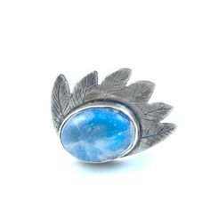 Blue Rainbow Moonstone Take Flight Wing Ring by andescruz on Etsy, $208.00