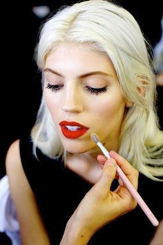 Some days, all you need is a red lip to make a style statement #beauty #makeup #backstage #red #lipstick