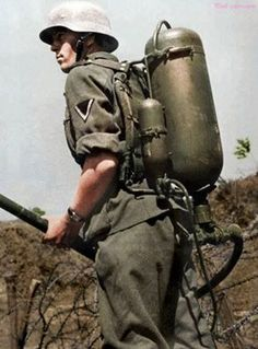 German soldier with a flammenwerfer 35 during the World war 2.