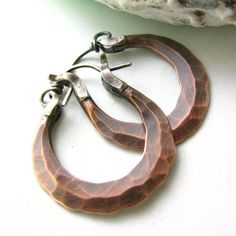 Small Copper Earrings  Forged And Oxidized Mixed Metal by Mocahete, $42.00