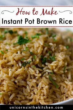 Instant pot brown rice is easy and absolutely no-fail. It includes less than 5 minutes of preparation and you will end up with delicious rice every time. Brown Rice Dishes, Rice Side Dishes, Side Dishes Easy, Side Dish Recipes, Dinner Recipes, Instant Brown Rice Recipe, Best Instant Pot Recipe, Recipe For Brown Rice, Diet