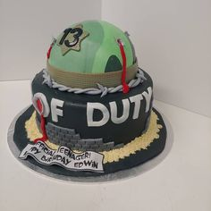 Call of Duty #callofduty #camouflage #bullet #bullethole #blood #barbedwire #sand #helmet #13 #thirteen #teenager #cake #dlish Cakes For Boys, Call Of Duty, Birthday Cakes, Camouflage, Bullet, Blood, Desserts, Camo, Anniversary Cakes