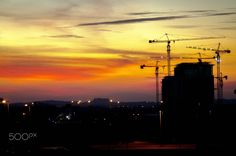 Sunset falling at Cyberjaya - sunset at Cyberjaya Malaysia with the constructions site as a object