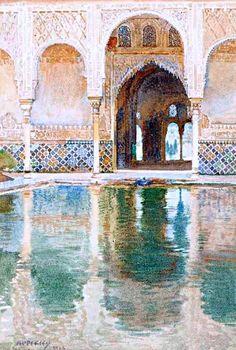 """""""Patio de los Arrayanes"""" acuarela de George Apperley, Granada"""