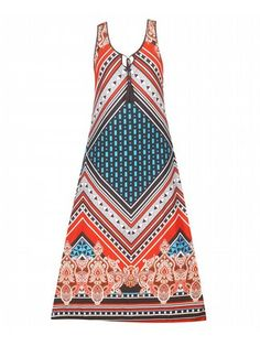Lake Success Maxi Dress $45  #alight #plussize #plussizefashion #plussizeclothing #spring #summer #trend #trendy #cute #dress #maxidress #plussizedress #plussizemaxidress #prints #pattern #orange #green #teal #white  Sleeveless maxi dress has a bright front and back geometric print and skinny tie with tassels at the neckline. Unlined. Material: 95% polyester, 5% spandex.