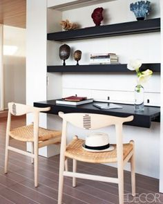 built in desk with floating shelves above - Google Search