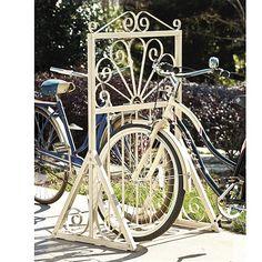 Dahlia Bike Rack by Ballard Designs.this bike rack would suit our downtown streets Indoor Bike Rack, Diy Bike Rack, Bicycle Rack, Rack Design, Diy Design, Bike Storage, Super Bikes, Ballard Designs, Dahlia