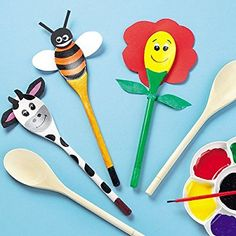Wooden Spoon Pals for Children to Paint, Decorate, Puppet Making - Pack of 10