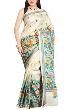 Ivory Hand painting & Kantha Stitch Tussar Silk Saree