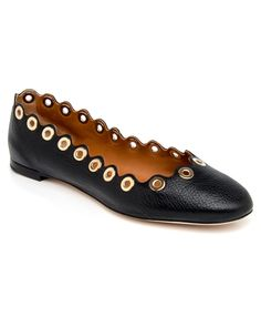 Chloé | Black Grain Leather Gabes Scalloped Ballet Flat | Ballet Flats & Loafers | Shoes