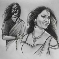 Just Perfect Indeed..The Stunning ANUSHKA SHETTY Is Brought Alive Marvellously On The Canvas!! Portrait Sketches, Art Drawings Sketches, Portrait Art, Graphite Drawings, Art Painting Gallery, Sketch Painting, Abstract Pencil Drawings, Black And White Sketches, Indian Art Paintings