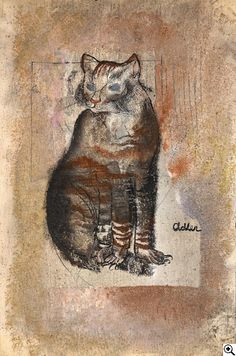 Jankel Adler (1895-1949) - Cat - Mixed media (oil, pencil, sand) on vellum