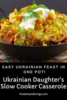 This Slow Cooker Ukrainian casserole is an easy Ukrainian recipe and a feast in one pot (your crockpot)! It has kielbasa sausage, cabbage rolls and pierogi (perogy) flavors. It's quick to prep and the slow cooker does all the work for you! Slow Cooker Casserole, Crock Pot Slow Cooker, Casserole Recipes, Slow Cooker Recipes, Cooking Recipes, Crockpot, Healthy Recipes, Chicken Casserole, Healthy Food