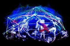 """Denkpalast Melencolia. 2013 Aus der Serie """"Der Geist der Philosophen"""". Rotierendes Raumobjekt aus Draht, Hasengitter, Laub, Klebeband, Schrinkfolie, Schaumstoff, Leuchtfarbe und Leuchtwolle Bildzitate aus """"Melencolia I"""", Albrecht Dürer 1514 Skulptur, Objekt, Video, Installation, Fotografie Markus Wintersberger 2013  #markuswintersberger #medienwerkstatt006 #albrechtdürer #melancholia #skulpturinbewegung #rotation #architektur #raumcollage #schwarzlicht #illumination #denkpalast #brain…"""