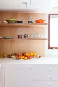 Love the plywood walls in the kitchen! Plywood Shelves, Plywood Walls, Mini Loft, Plywood Kitchen, House On The Rock, New Kitchen, Kitchen Walls, Kitchen Things, Kitchen Interior