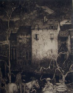 """: """" 'The Fall of the House of Usher' by Lawson, 1935. (Photo Courtesy of the Edgar Allan Poe Museum) """""""