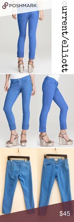 """Current/Elliott Beatnik jeans in faded blue """"The Beatnik Jean"""" in faded blue from Current/Elliott. 5 pocket style. No condition issues. Cotton/elastin. Inseam is 27"""". Front rise is 8"""". Leg opening is 6"""" flat. Current/Elliott Jeans Skinny"""
