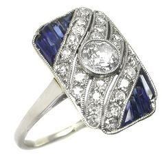 Art Deco Platinum Diamond Sapphire Ring - I think we've found my 40th birthday present!