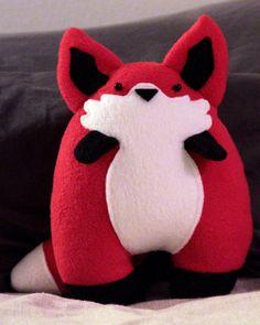 Red Fox Chubby Plush Animal by JanellesPlushies on Etsy