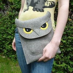Owl New iPad and iPad 2 sleeve  Gray felt  MADE TO by BoutiqueID, $69.00