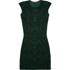 Alexander McQueen Patterned knitted dress (€500) ❤ liked on Polyvore featuring dresses, vestidos, alexander mcqueen, green, print dress, baroque print dress, mixed print dress and baroque dress