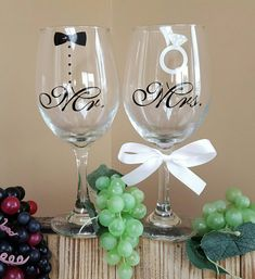 Mr and Mrs wine glassess with tuxedo and ring; mr and mrs wine glasses; wedding…