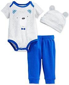 1259227c709443 First Impressions Baby Boys  3-Piece Bear Bodysuit