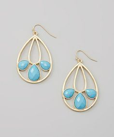 Look at this #zulilyfind! Turquoise & Gold Teardrop Earrings #zulilyfinds