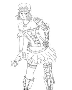 Steampunk Coloring Pages | Steampunk Girl by Sappel on deviantART