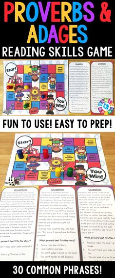FIGURATIVE LANGUAGE! This Proverbs and Adages Board Game contains 30 paragraph game cards and a game board to help students practice identifying and determining the meanings of common proverbs and adages in short stories. This Proverbs and Adages Board Game game works great as a pair/group activity, or for use in literacy centers!